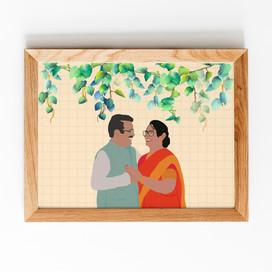 Couple Digital Portrait - Framed