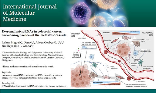 IJMM review on exosomal miRNAs accepted.