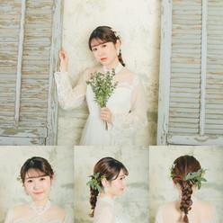 ハイネックのドレスのディテールを際立たせるため ヘアはシンプルに 個性的なお花選びで人とは違うおしゃれ花嫁へ