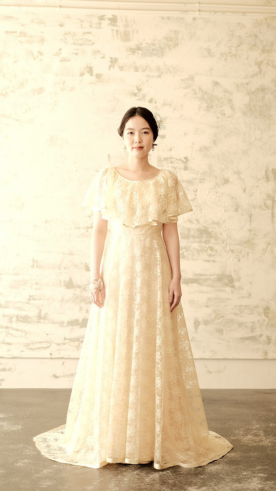 CREAM LACE CAPE LOOK DRESS