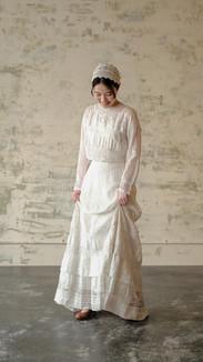 1910'S Edwardian Dress White Cotton Lace