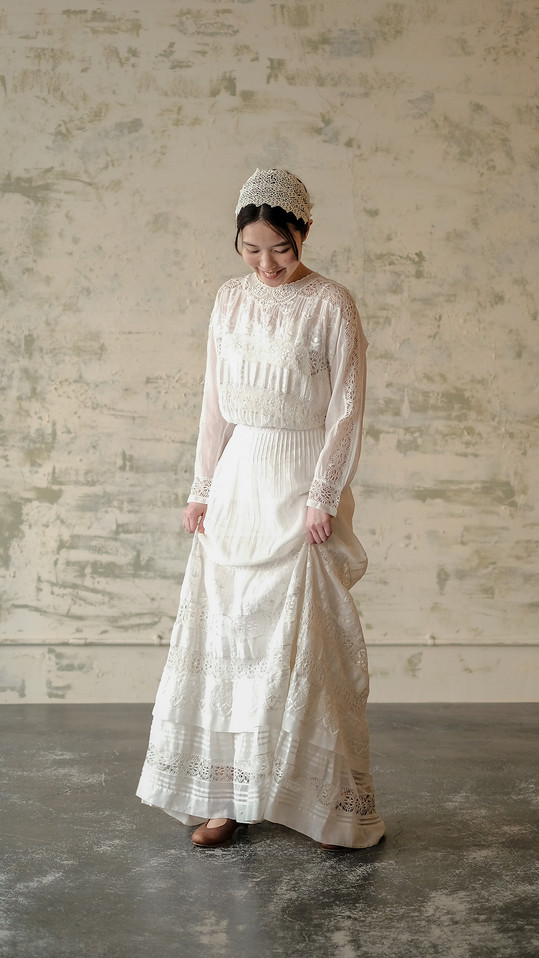 1910'S Edwardian Dress White Cotton Lace