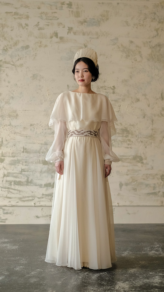 IVORY SHEER OVERLAY WEDDING DRESS with SHEER SLEEVE