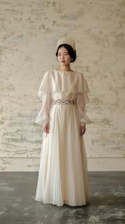 IVORY SHEER OVERLAY WEDDING DRESS with SHEER SLEEVE