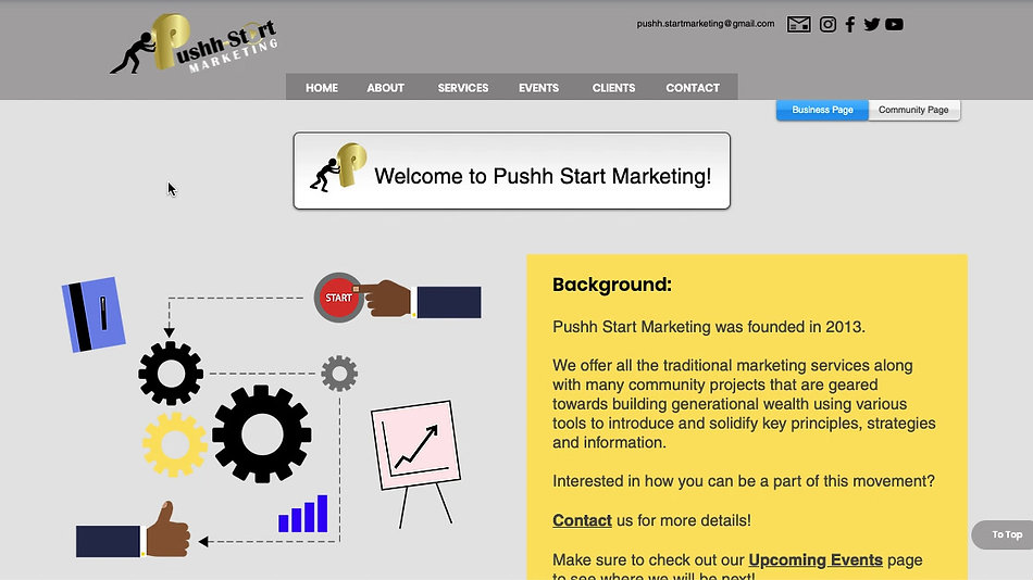 Pushh Start Marketing's website designed by Sudden Impact - Virtual Design.