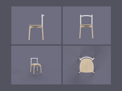 Orthographic Render of Stacking Chair