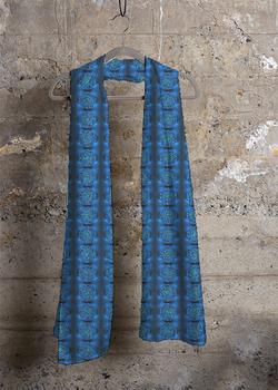 MYSTIC BLUE ROSE cashmere modal scarf