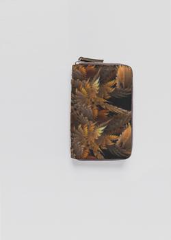 Autumn Feathers  leather sip around wallet