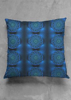 MYSTIC BLUE ROSE luster square pillow