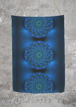 MYSTIC BLUE ROSE oversized merino wool scarf