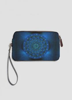 MYSTIC BLUE ROSE leather statement clutch