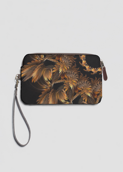 Autumn Feathers  lether statement clutch