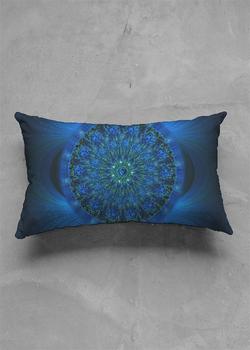 MYSTIC BLUE ROSE matte oblong pillow