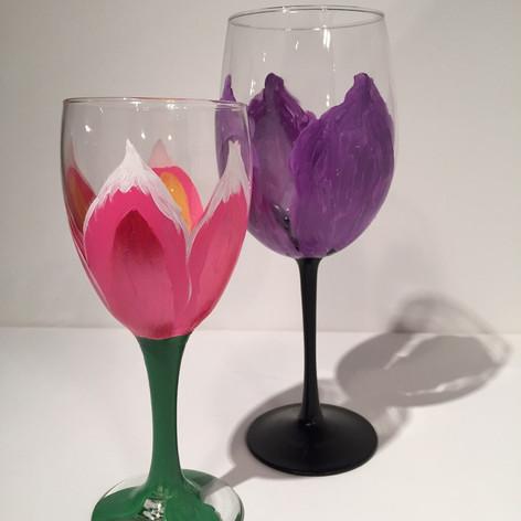 Pink and Purple Tulip Wine Glasses.JPG