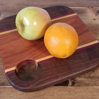 Rounded Square Black Walnut, Yellow Heart & Purple Heart Boards