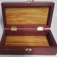 Purpleheart & Canary wood Hinged Jewelry/Keepsake Box