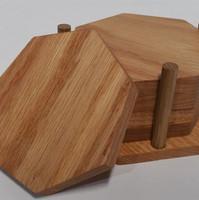 Red Oak Septagon Coaster Set with Holder