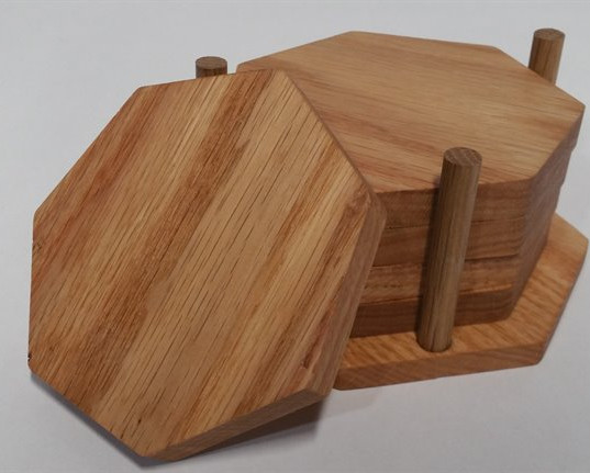 Red Oak Septagon Coaster Set with Holder
