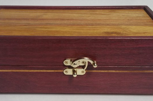 Purpleheart & Canary wood Hinged Jewelry/Keepsake Box