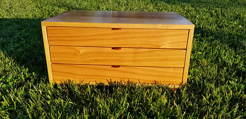 "Three-drawer Cherry Collector's Chest - 16"" x 7"" x 9 3/4"""