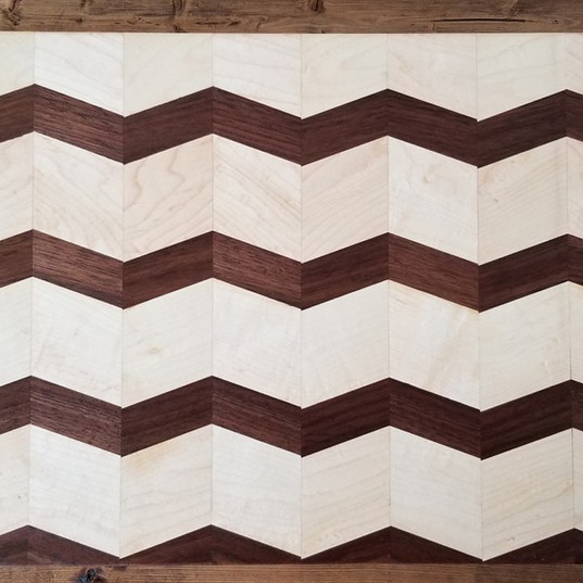 Maple and Black Walnut wide zig zag line