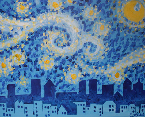 028 Starry Night Over City