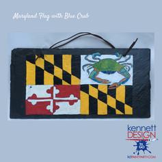 Maryland Flag with Blue Crab Slate squar
