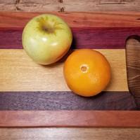 Cherry, Purpleheart, Yellowheart & Black Walnut Board with Handle