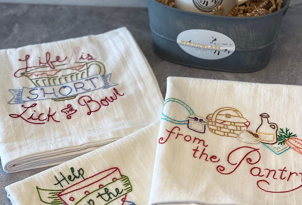 Coffee & Pantry Themed Hand Embroidered Tea Towels