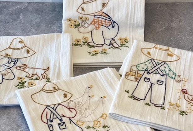 Farm Life! Hand Embroidered Tea Towels