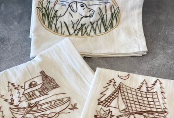 The Great Outdoors! Hand Embroidered Tea Towels