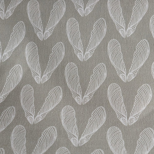 Grey linen sycamore pattern fabric