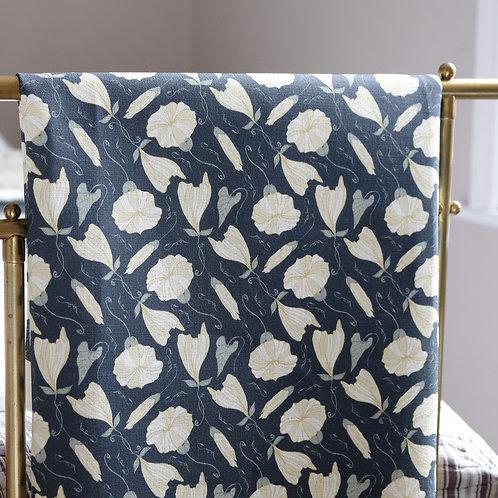 Dark blue linen curtain material