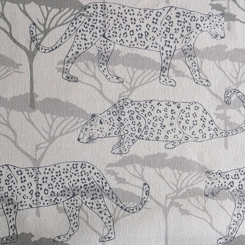 Leopards in the Acacia, Eucalyptus and Teal Linen Fabric