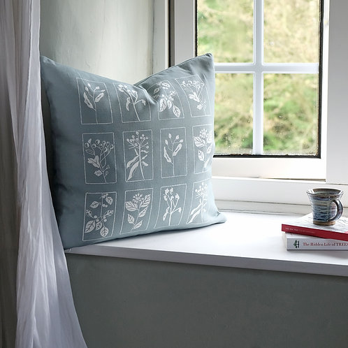 Hedgerow Cushion in Silver Blue
