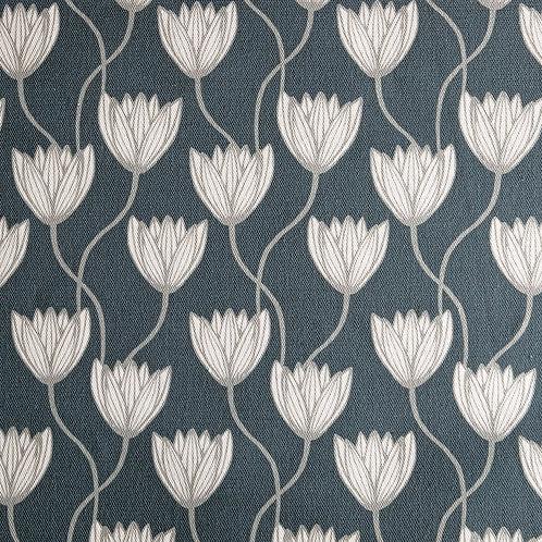 Delta Lilies Teal Linen Fabric