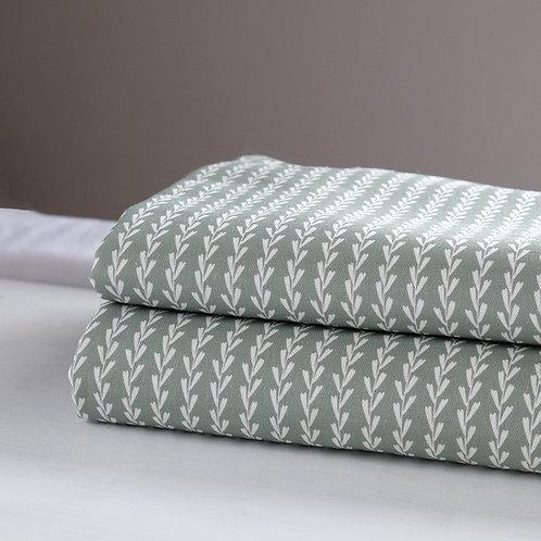 Green striped linen fabric