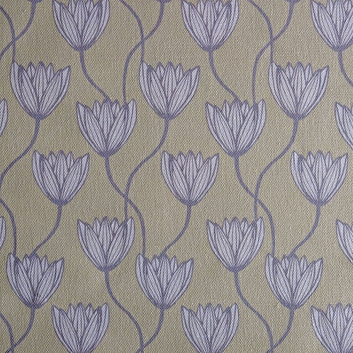 Delta Lilies Cream and Grey Linen Fabric