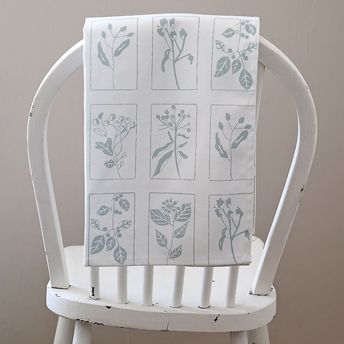 White Hedgerow Tea Towel