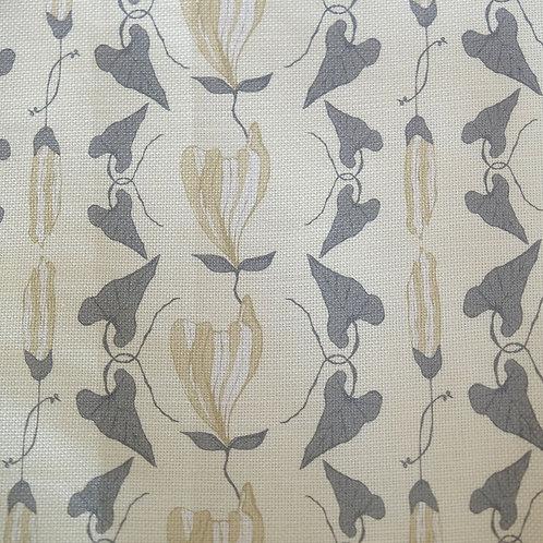 Cream Linen Floral Fabric