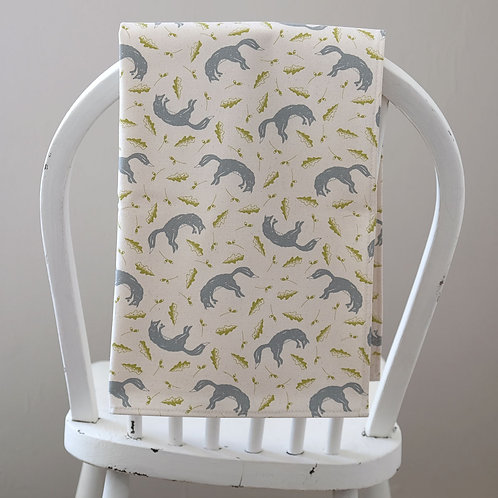 Leaping Fox Grey and Golden Lime Tea Towel
