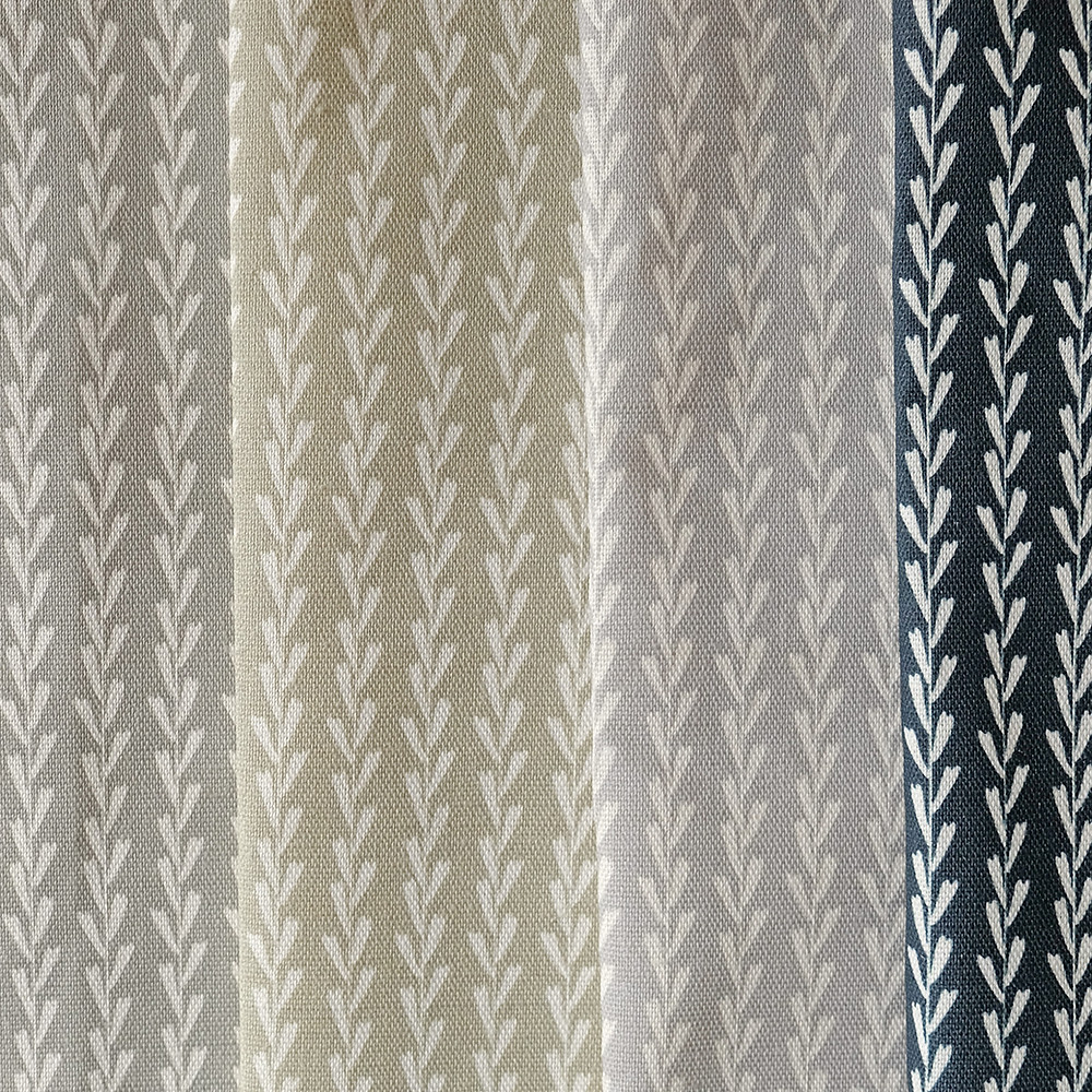 Samples of striped linen fabric