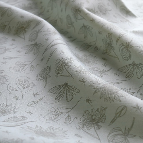 Floral curtain fabric in light blue