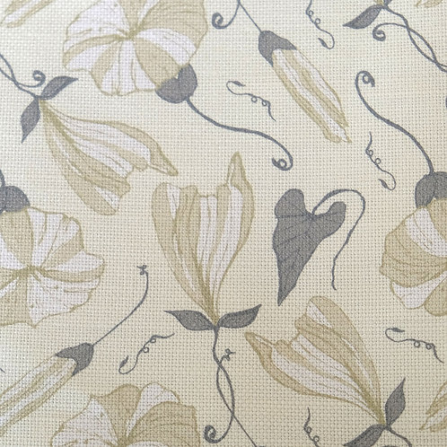 Cream Floral Linen Fabric