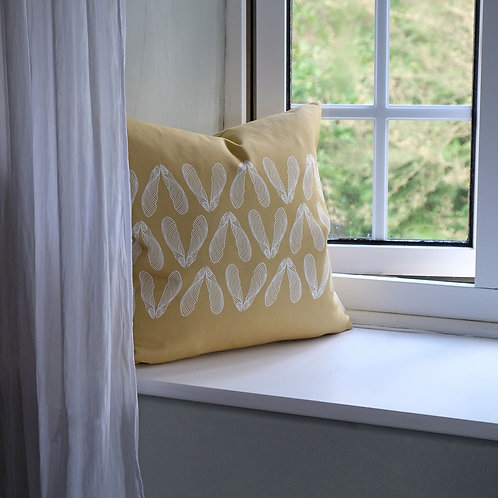 Sycamore Seed Cushion in Ochre