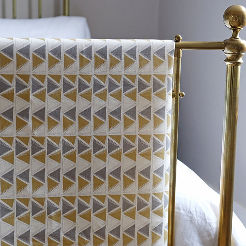 Mirage, Soft Ochre and Grey Linen Fabric