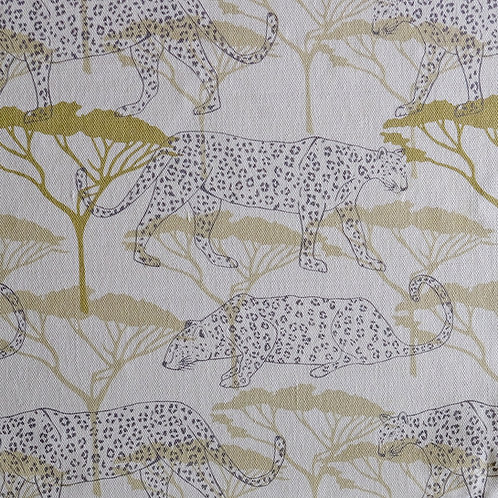 Leopards in the Acacia, Soft Ochre and Grey Linen Fabric