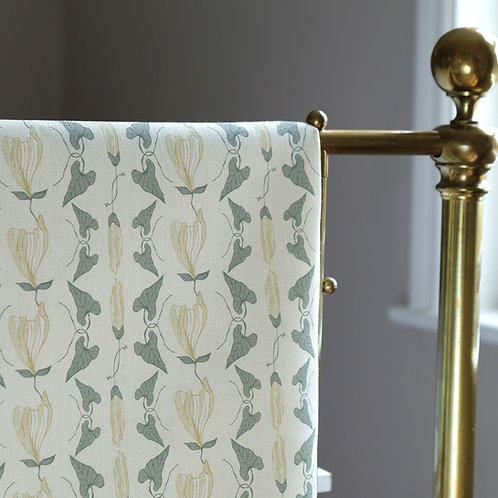 Floral linen curtain fabric
