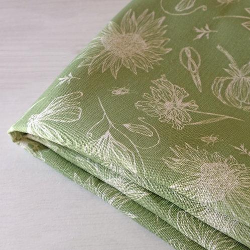 Apple green linen floral fabric