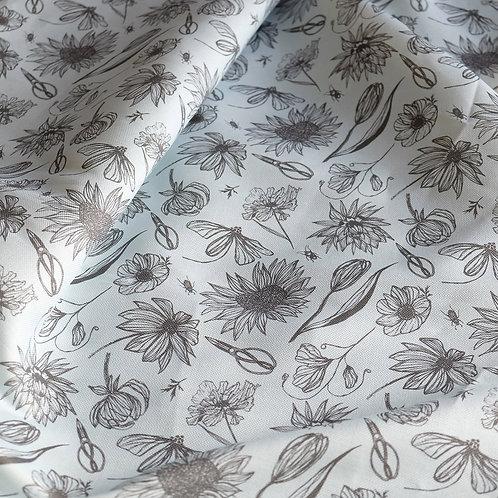 Blue Linen Floral Fabric